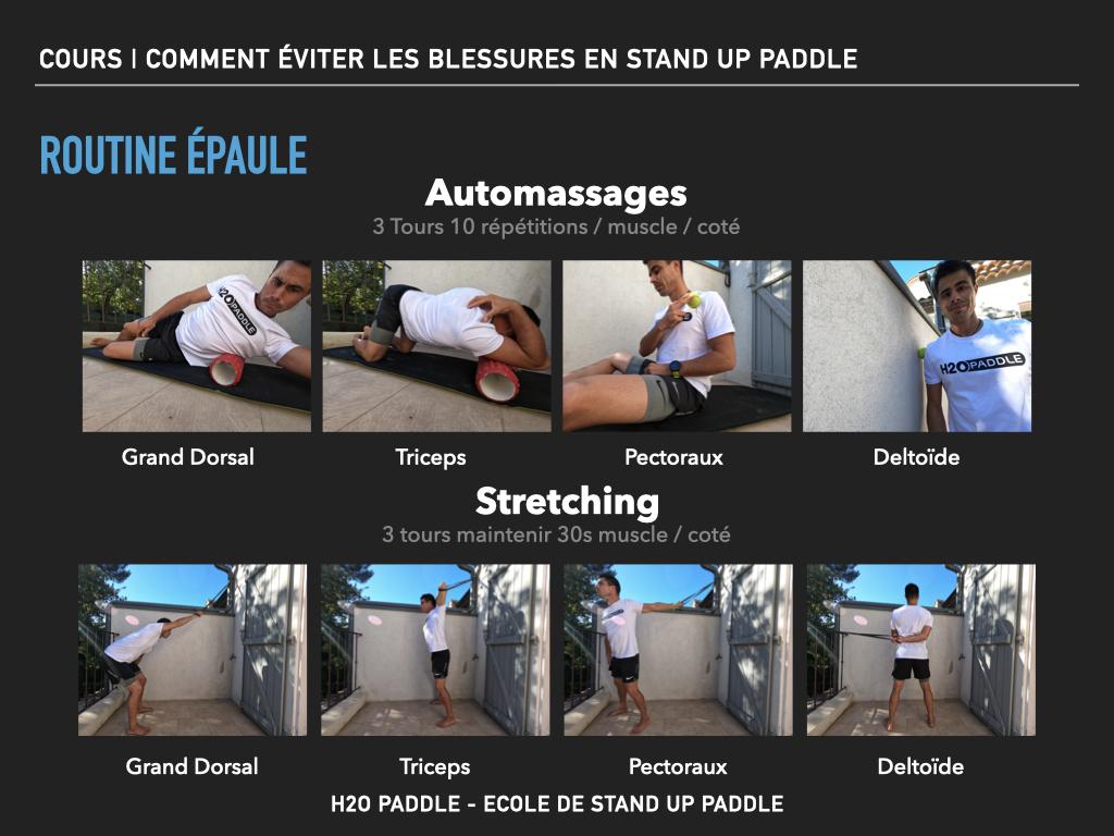 Routine automassage et stretching pour limiter les risques de blessures au niveau de l'épaule en stand up paddle