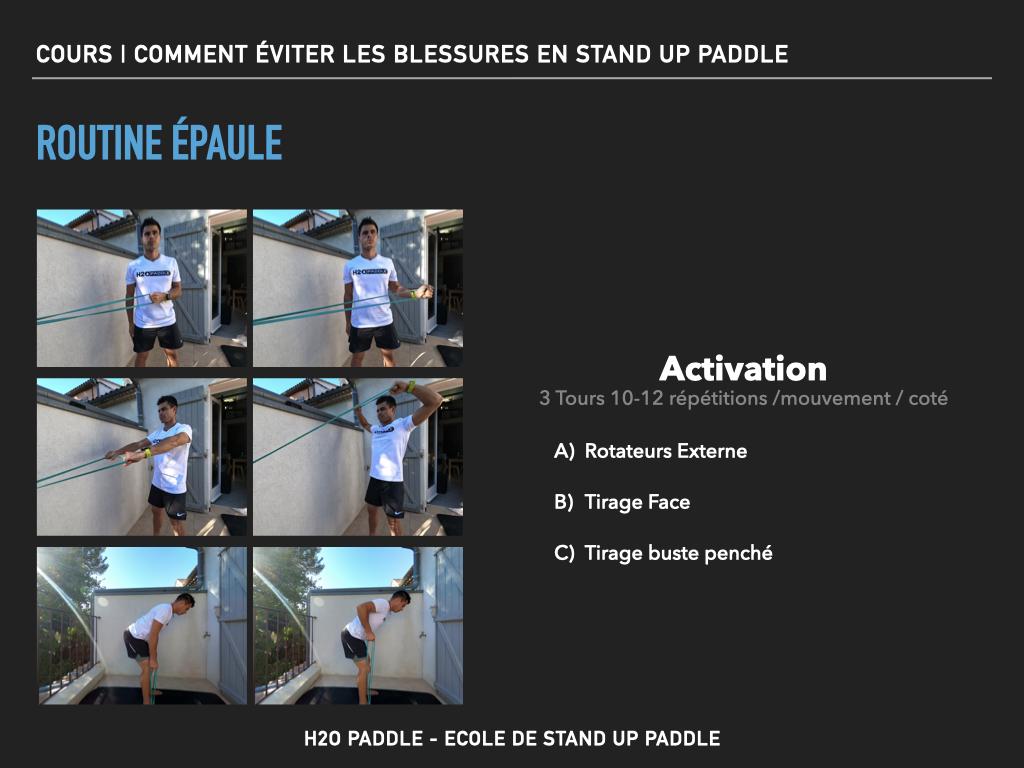 Routine activation pour limiter les risques de blessures au niveau de l'épaule en stand up paddle