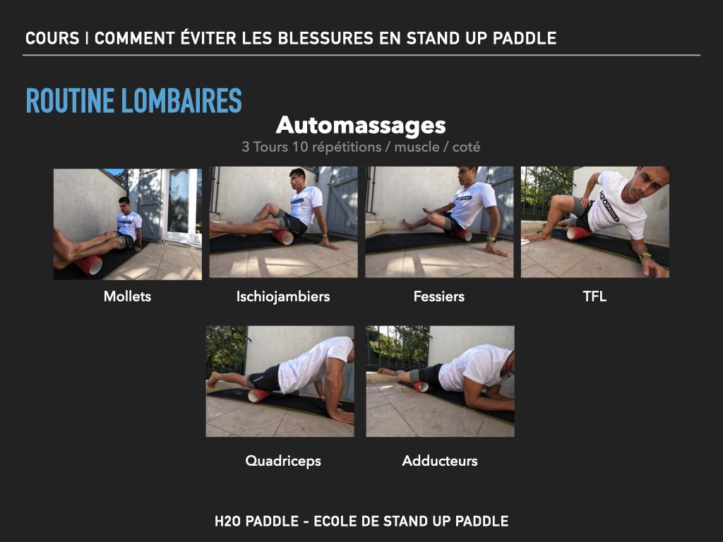 Routine automassage pour limiter les risques de blessures au niveau des lombaires en stand up paddle