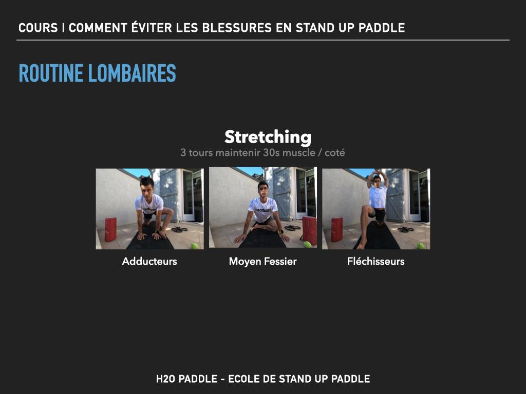 Routine  stretching pour limiter les risques de blessures au niveau des lombaires en stand up paddle